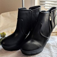 GIANNI BINI Take-Too Black Leather Platform Ankle Booties Boots Women's Size 7M