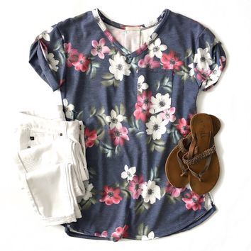 Navy Floral Pocket Top