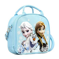 Disney Frozen Lunch Box Carry Bag with Shoulder Strap and Water Bottle (SNOW BLUE)