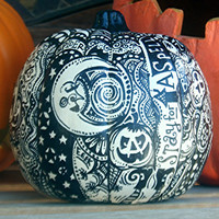 """White Halloween Pumpkin with One of a Kind 'Whimsical Wandomness""""! Introductory price good UNTIL October 10th!!"""