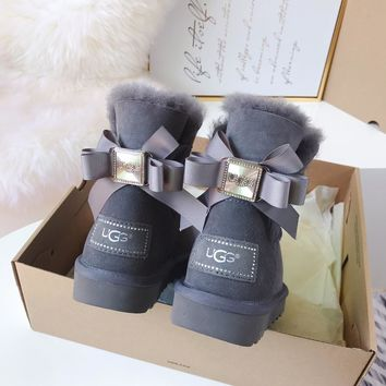 UGG Water drill with multiple layers of ribbon bow tie boots-1