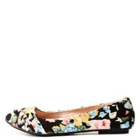 Ruched Floral Print Ballet Flats by Charlotte Russe - Black Multi