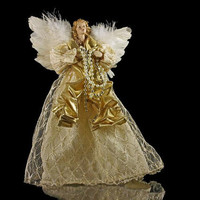 Christmas Angel, Tree Topper, With Feather Wings, Christmas Decoration, 9 Inches Tall