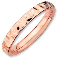 Stackable Expressions™ 3mm Textured Band in Sterling Silver and 18K Rose Gold Plate - View All Rings - Zales