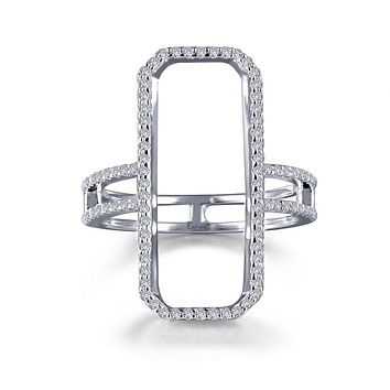 Lafonn Classic Sterling Silver Platinum Plated Lassire Simulated Diamond Ring (0.96 CTTW)