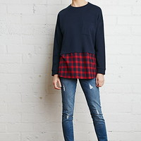Layered Plaid Sweatshirt