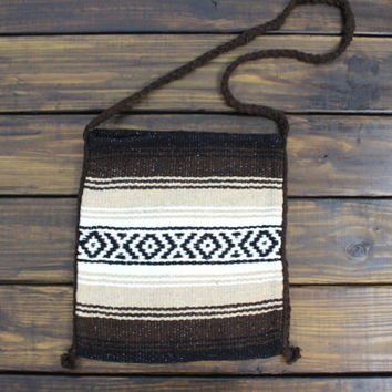 Aztec Boho Bag Cross Body Bag Upcycled Mexican Blanket Bag Tan and Brown Tribal Bag or Back pack Bohemian Travel Hang Bag