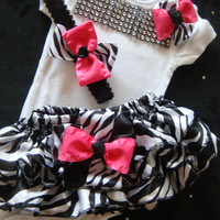 NEWBORN baby girl take home outfit complete bodysuit hot pink zebra print bloomers hot pink black and white ruffles rhinestones