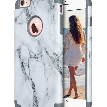 CREYRQ5 iPhone 6S Plus Case,iPhone 6 Plus Case Marble, ULAK Slim Dual Layer Soft Silicone & Hard Back Cover Bumper Protective Shock-Absorption & Skid-proof Anti-Scratch Hybrid Case-marble pattern