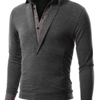 Doublju Mens Polo T-Shirt men shirt with Long Sleeve Double Layer Style CHARCOAL (US-XL)