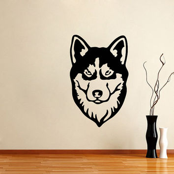 Vinyl Decal Siberian Husky Cute Dog Animal Pet Shop Housewares Home Wall Art Decor Stylish Sticker Unique Design for Any Room V623
