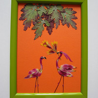 "Unique picture from pressed flowers ""Courting"" - Pressed flowers art - Unique gift - Art collage - Home decor wall art - Framed picture."