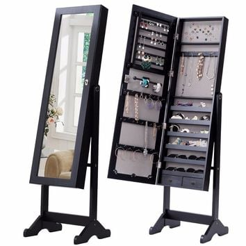 Standing Lockable Mirrored Jewelry Armoire with 2 Drawers