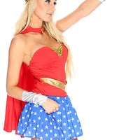Sexy Red Wonderful Women 5Pc. Superhero Costume