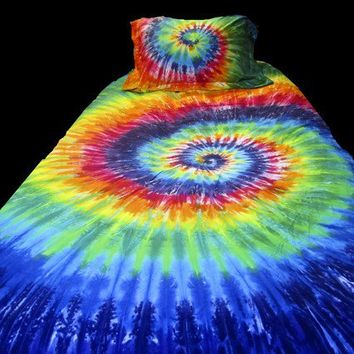 Rainbow Queen Duvet Cover with Two Matching Pillow Shams Colorful Tie Dyed Bedding Set Beautiful Rainbow Spiral Duvet Cover