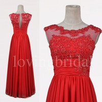 Long Red Lace Prom Dresses Unique Handmade Flower A Line Chiffon Party Dresses Homecoming Dresses Evening Dresses
