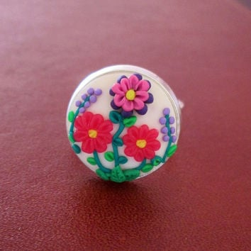 pink floral ring, flower ring, statement ring, READY TO SHIP,handmade, spring, filigree ring, rose,purple, polymer clay ring,gift for her