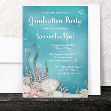 Under the Sea Graduation Invitations - Whimsical Underwater or Aquarium design with Aqua Blue and Beige - Printed Invitations