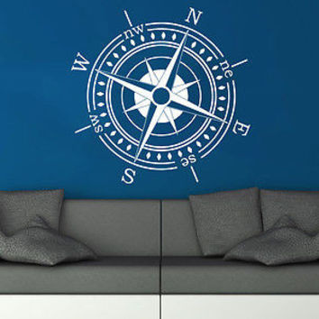Wall Decal Compass Nautical Vinyl Sticker Decals Navigation Home Decor C82