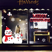 Creative Snowman Brothers Christmas Wall Sticker Home Decor Christmas Decorations For Home Christmas Window Sticker Stickers