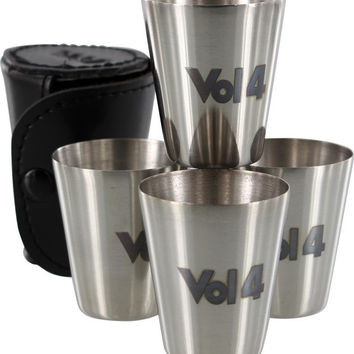 Volume 4 Bottoms Up Shot Glass Set Of 4 Silver