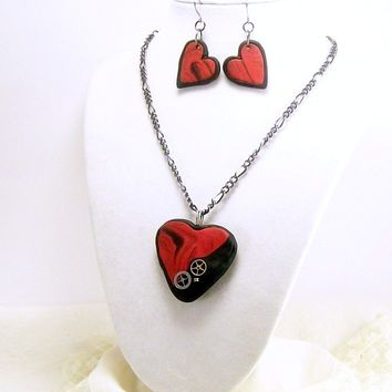Red and Black Steampunk Heart Pendant and Earring Set in Polymer Clay