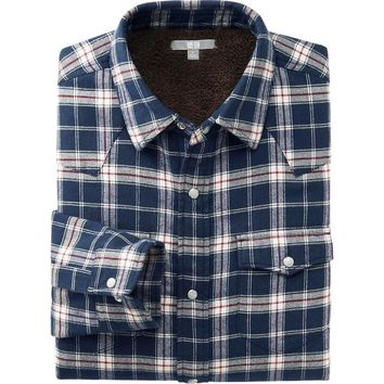 MEN FAUX SHEARLING CHECK LONG SLEEVE SHIRT | UNIQLO