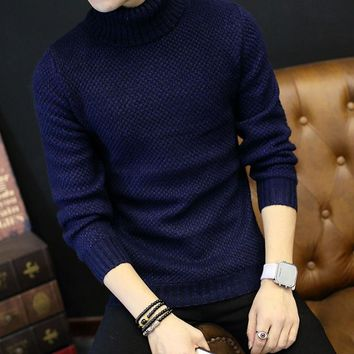 2017 Winter Mens Turtleneck Sweaters Pullovers Clothing Warm Thick Men Cotton Knitted Sweater Male Sweaters Pull Homme XXXL 50