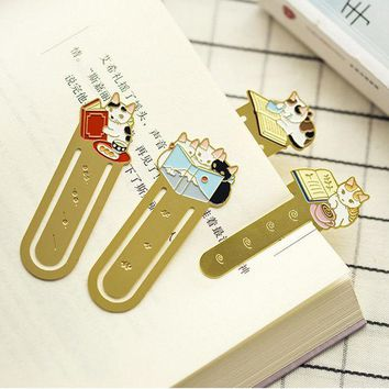 DCCKL72 cute Cat Family metal bookmark planner paper clip material escolar bookmarks for book stationery school supplies papelaria
