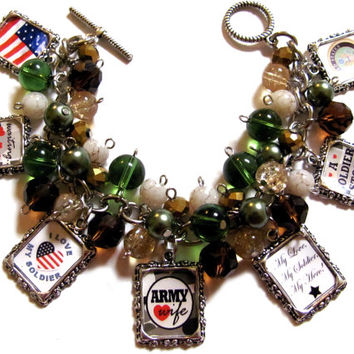 Army Wife Altered Art Fashion Charm Bracelet Green Gold Beaded Handmade Jewelry