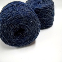 Vintage Navy Yarn, Knitting Supplies, Best English Spun, 100% Pure Wool