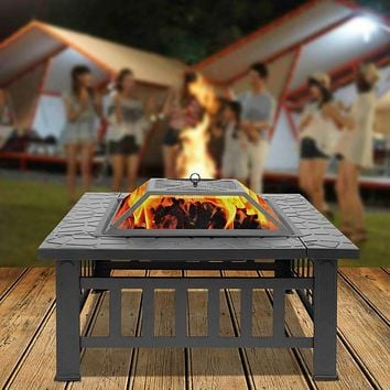 Outdoor Brazie Fire Place Burner Fire Pit Portable Metal Fire Bowl Wood Burning Firepit for Patio Camping Hiking - US Stock