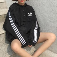 """Adidas"" Women Loose Casual Stripe Hooded Long Sleeve Windbreaker Coat Pullover Sweatshirt Hoodie Tops"