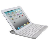 iXCC Aluminum Bluetooth Keyboard Case for Apple iPad 2 and iPad 3 -the New iPad (Silver with White Keys)