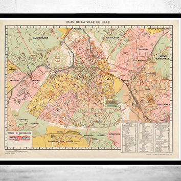 Old Map of Lille France 1930
