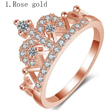 Tiffany ring rose gold crown zircon ring jewelry