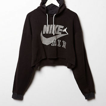 Retro Gold Vintage Nike Air Logo Cropped Hoodie Fleece Sweatshirt at PacSun.com