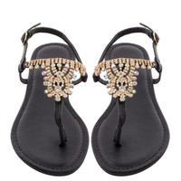 Crystal Cali Sandals - Black