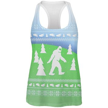 Ugly Christmas Sweater Bigfoot Sasquatch Yeti All Over Womens Work Out Tank Top
