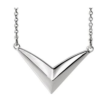 Sterling Silver V Shaped Bar Adjustable Necklace, 16-18 Inch