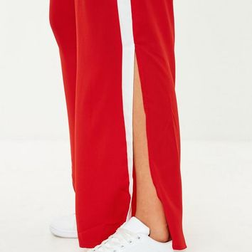 Missguided - Red Side Stripe Wide Leg Joggers