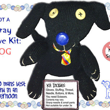 Glove Dog Sewing Kit, Not a Stray Sock but gloves Kit to make your own Best Friend :) Great activity gift