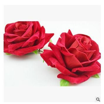 Trendy Headpiece High-end velvet red roses Hair Clip Flower Hairpin DIY Headdress Bridal Hair Accessories Femme Wedding corsage