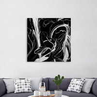 «Caribbean Succulent White on Black», Numbered Edition Canvas Print by Alicia Jones - From $49 - Curioos