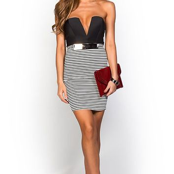 Kayla Black and White Plunging Strapless Cocktail Party Dress with Stripes