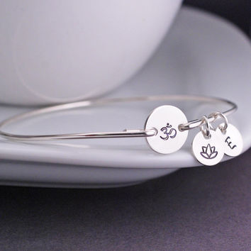 Om Jewelry, Yoga Bracelet, Sterling Silver Bangle Bracelet , Yoga Gift