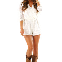 Underneath The Sky Romper: White