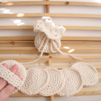 Cotton Soap Saver and Face Scrubbies Set in Ecru, MADE TO ORDER.