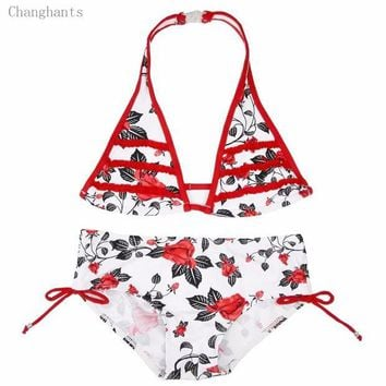 DCCK7N3 Girls Swimwear 2 Pieces Bikini Set8-16Y Kids Biquini with Rose Flowers Pattern Children Bathing suit Beach Swim Wear sw0695