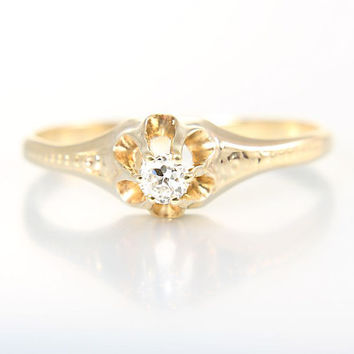 Victorian Diamond Ring Solitaire Engagement, 14K Yellow Gold Belcher Setting Size 7.75
